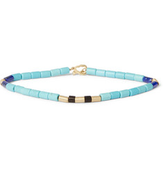Luis Morais - 14-Karat Gold, Turquoise and Wood Bead Bracelet
