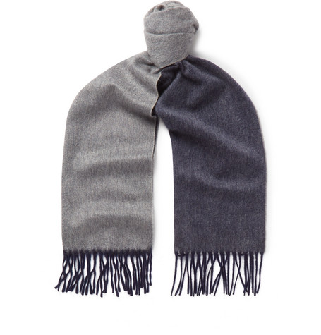 14efa88dcb4 Begg   Co Arran Fringed Two-Tone Cashmere Scarf In Navy