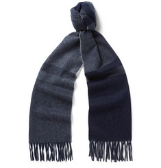 Begg & Co Vigo Fringed Checked Wool and Cashmere-Blend Scarf