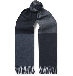 Begg & Co Vigo Fringed Colour-Block Wool and Cashmere-Blend Scarf