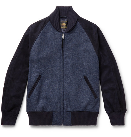 GOLDEN BEAR The Griffith Wool-Tweed And Suede Bomber Jacket - Navy