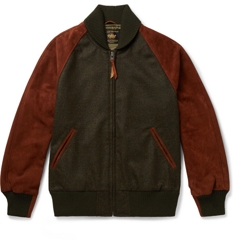 GOLDEN BEAR The Griffith Wool-Tweed And Suede Bomber Jacket - Green