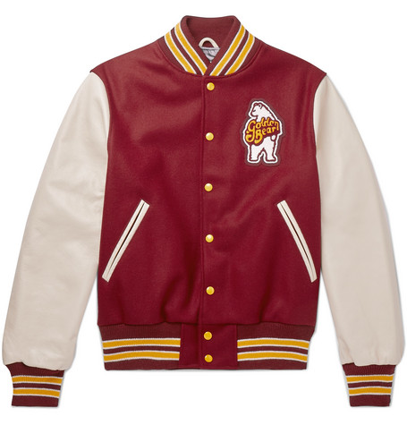 GOLDEN BEAR Virgin Wool-Blend And Leather Bomber Jacket - Red