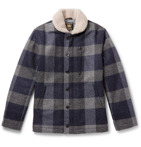 GOLDEN BEAR The Cooper Hearling-Trimmed Checked Wool Jacket - Navy