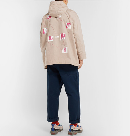 Oversized Logo Appliquéd Printed Cotton Hooded Parka by Cav Empt