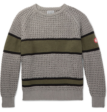 Striped Waffle Knit Cotton Sweater by Cav Empt