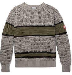 Cav Empt Striped Waffle-Knit Cotton Sweater
