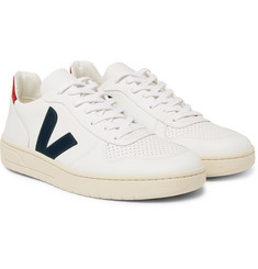 Veja - V-10 Rubber-Trimmed Leather Sneakers