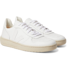 Veja V-10 Rubber-Trimmed Leather Sneakers