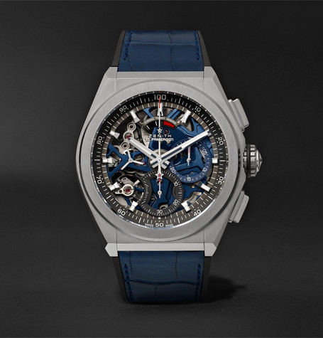 Zenith Defy El Primero 21 Chronograph 44mm Brushed-Titanium, Alligator and Rubber Watch, Ref. No. 95.9002.9