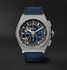 Zenith Defy El Primero 21 Chronograph 44mm Brushed-Titanium, Alligator and Rubber Watch
