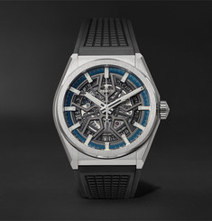 Zenith Defy Classic Automatic Skeleton 41mm Brushed-Titanium and Rubber Watch