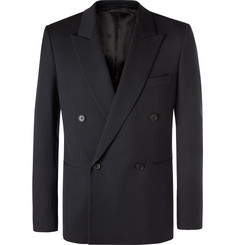 The Row - Navy Julian Slim-Fit Double-Breasted Virgin Wool Blazer