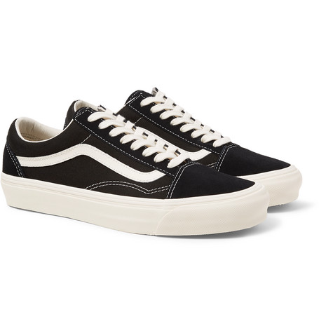 5afc4795794c41 Vans - OG Old Skool LX Leather-Trimmed Canvas and Suede Sneakers