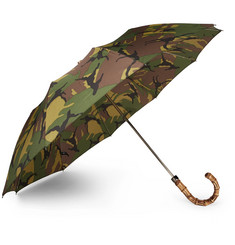 London Undercover - Camouflage-Print Wood-Handle Telescopic Umbrella