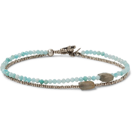 PEYOTE BIRD Sterling Silver, Amazonite And Quartz Bracelet in Turquoise