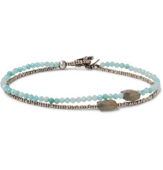 Peyote Bird - Sterling Silver, Amazonite and Quartz Bracelet