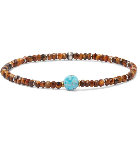 PEYOTE BIRD BEADED TIGER'S EYE, TURQUOISE AND STERLING SILVER BRACELET