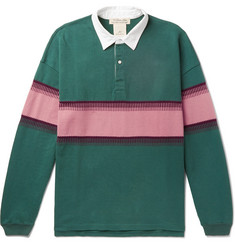 Remi Relief Twill-Trimmed Striped Cotton-Jersey Polo Shirt