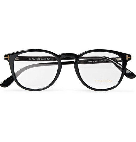 ed6bd80fd Tom Ford Round-Frame Acetate Optical Glasses In Black   ModeSens