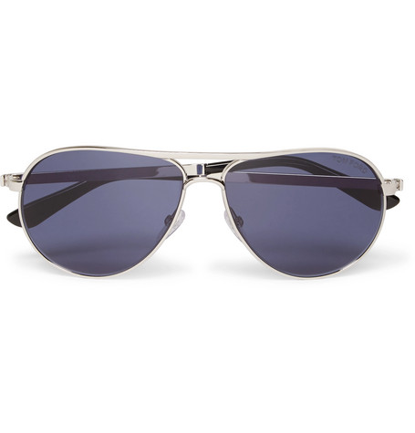 tom ford male marko aviatorstyle silvertone sunglasses