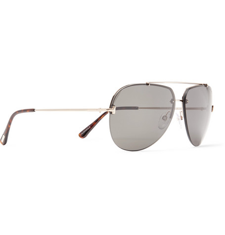 Brad Aviator Style Silver Tone Sunglasses by Tom Ford