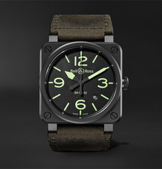 Bell & Ross - BR03-92 Nightlum Automatic 42mm Ceramic and Leather Watch