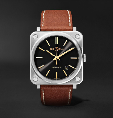 Bell & Ross BR S-92 Golden Heritage Automatic 39mm Stainless Steel and Leather Watch, Ref. No. BRS92-ST-G-HE/SCA