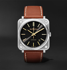 Bell & Ross BR S-92 Golden Heritage Automatic 39mm Stainless Steel and Leather Watch