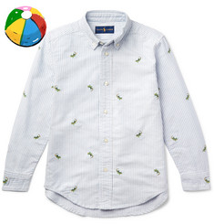 Polo Ralph Lauren Boys Ages 8 - 10 Embroidered Striped Cotton Oxford Shirt