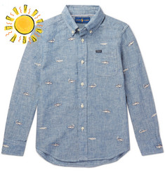 Polo Ralph Lauren Boys Ages 8 - 10 Embroidered Linen and Cotton-Blend Chambray Shirt