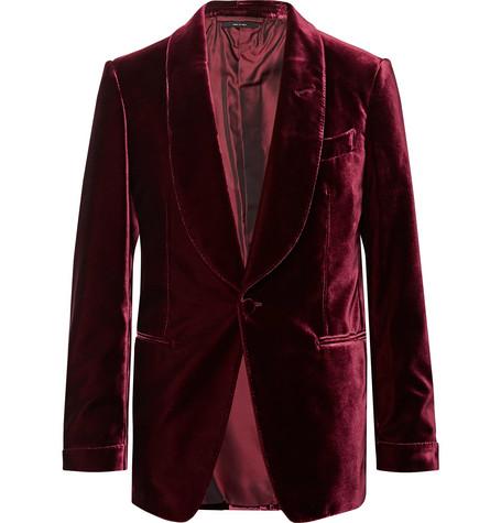 f3ce7626ce7b Tom Ford Burgundy Shelton Velvet Tuxedo Jacket - Burgundy ...