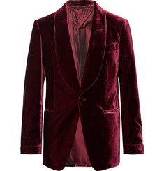 TOM FORD Burgundy Shelton Velvet Tuxedo Jacket