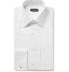 TOM FORD - White Slim-Fit Bib-Front Double-Cuff Sea Island Cotton Shirt