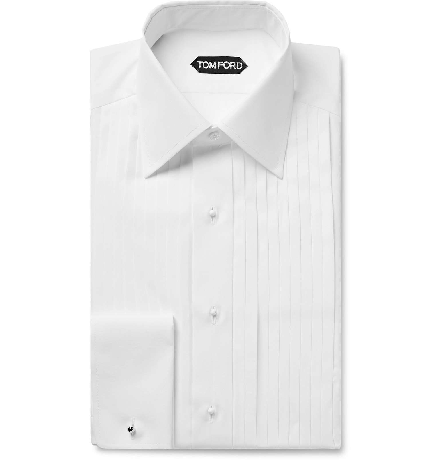 Tom Ford White Slim Fit Bib Front Double Cuff Sea Island Cotton Shirt