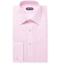TOM FORD Pink Slim-Fit Bib-Front Cotton-Voile Shirt