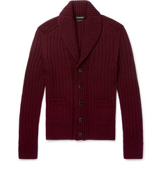 TOM FORD Steve McQueen Slim-Fit Shawl-Collar Ribbed Wool Cardigan