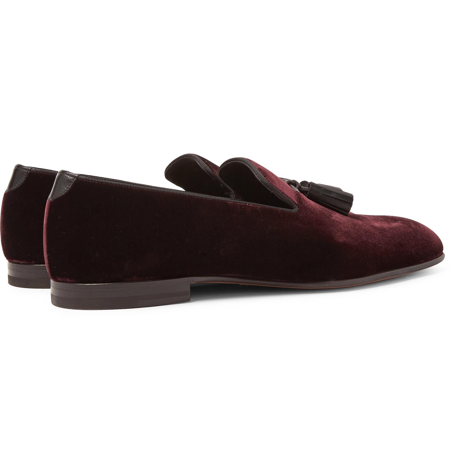888691b0008 TOM FORD - William Leather-Trimmed Velvet Tasselled Loafers