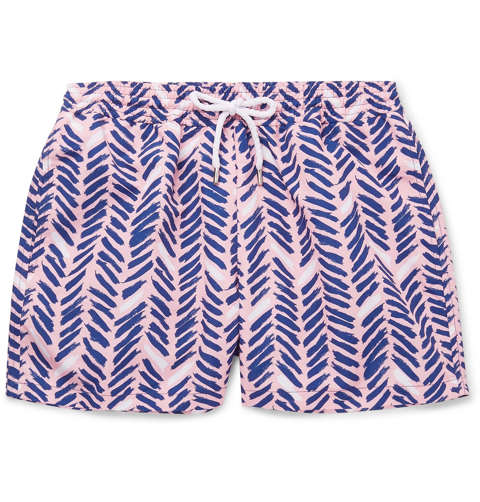 Pira Slim-fit Short-length Printed Swim Shorts - Pink