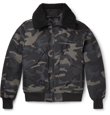 Canada Goose – Bromley Shearling-trimmed Camouflage-print Shell Down Bomber Jacket – Black