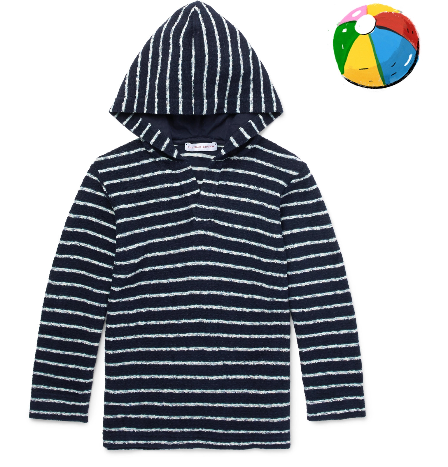 Orlebar Brown Boys Ages 4 - 12 Harley Striped Cotton-terry Hoodie - Navy zHZLD