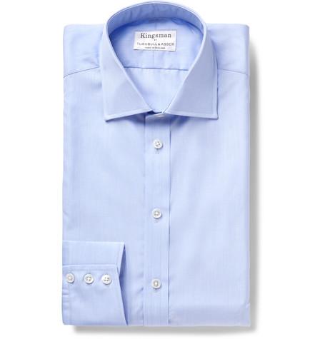 Kingsman+ Turnbull   Asser Light-Blue Slim-Fit Cutaway-Collar Cotton-Poplin  Shirt 40070c98701af