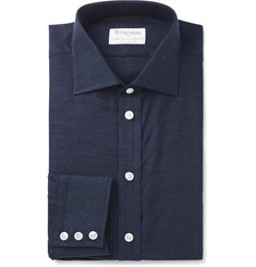 Kingsman - + Turnbull & Asser Navy Slim-Fit Cotton and Cashmere-Blend Twill Shirt