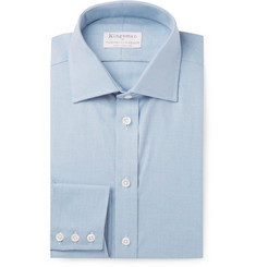 Kingsman - + Turnbull & Asser Light-Blue Slim-Fit Cotton and Cashmere-Blend Twill Shirt