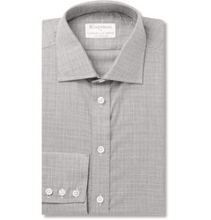 Kingsman - + Turnbull & Asser Slim-Fit Prince of Wales Checked Cotton and Cashmere-Blend Shirt
