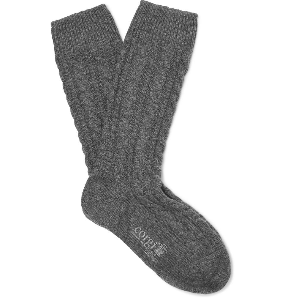 Billede af + Corgi Cable-knit Cashmere Socks - Gray