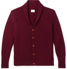 Kingsman Slim-Fit Shawl-Collar Ribbed Wool and Cashmere-Blend Cardigan