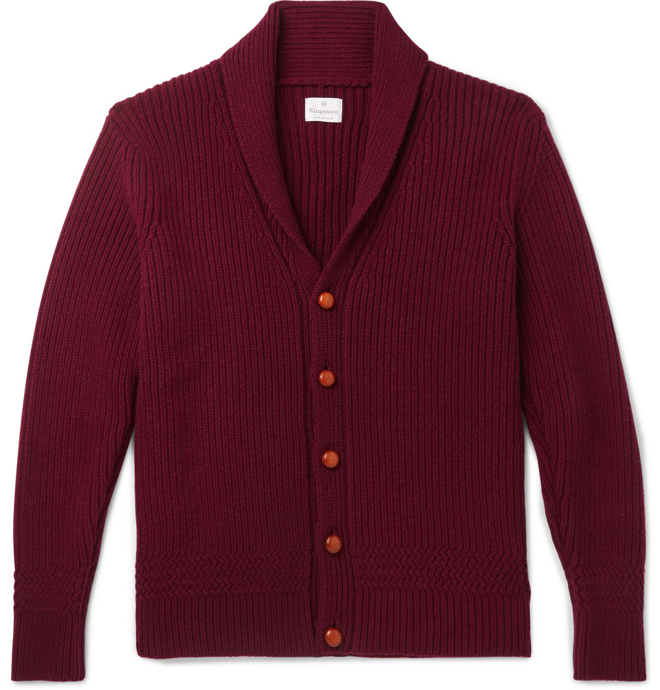 Slim-fit Shawl-collar Ribbed Wool And Cashmere-blend Cardigan - Burgundy