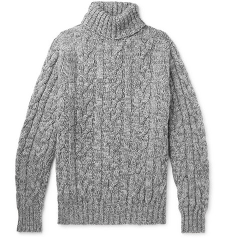 Cable Knit Wool And Cashmere Blend Rollneck Sweater by Kingsman