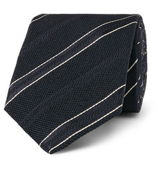 Kingsman - + Drake's 8cm Striped Textured-Silk Tie